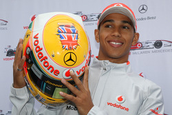 Lewis Hamilton, McLaren Mercedes, and a specially designed helmet for this race