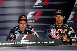 Press conference: pole winner Sebastian Vettel, Red Bull Racing, third place Mark Webber, Red Bull Racing
