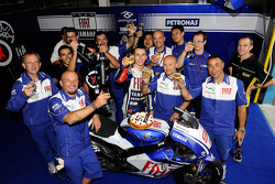 Jorge Lorenzo, Fiat Yamaha Team, celebrates 50th podium with his team