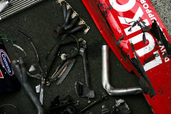 Damaged parts from the car of Mikhail Aleshin