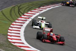 Felipe Massa, Scuderia Ferrari leads Rubens Barrichello, Brawn GP