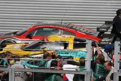 Race winner #4 PK Carsport Corvette Z06: Mike Hezemans, Anthony Kumpen, Jos Menten, Kurt Mollekens arrives in parc fermé