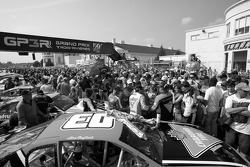 A massive crowd on the starting grid