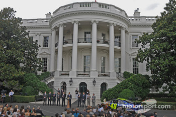 Scene on the South Lawn of the White House in Washington, DC.  Jimmie Johnson, the 2008 champion, honored by the president with eight other drivers on hand to share in the cheer
