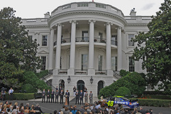 NASCAR-CUP: Scene on the South Lawn of the White House in Washington, DC.  Jimmie Johnson, the 2008 champion, honored by the president with eight other drivers on hand to share in the cheer