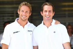 Jenson Button, Brawn GP and Olympic Yaught Champion Ben Ainslie