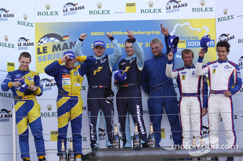 LMGT2 podium: class winners Marc Lieb, Richard Lietz and Horst Felbermayr Sr., second place Tom Coronel and Jarek Janis, third place Pierre Ehret, Dominik Farnbacher and Anthony Beltoise