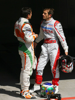 Giancarlo Fisichella, Force India F1 Team, Jarno Trulli, Toyota F1 Team
