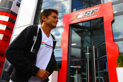 Giancarlo Fisichella, Force India F1 Team walks past the Ferrari motorhome