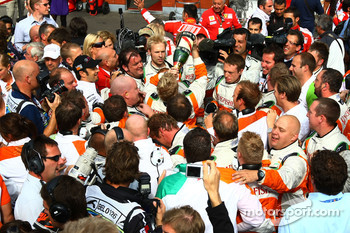 Force India F1 Team celebrate after coming second in the race