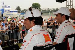 Toni Elias, San Carlo Honda Gresini and Alex De Angelis, San Carlo Honda Gresini at the fan stage