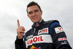 Mikhail Aleshin celebrates pole position