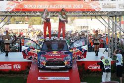 Podium: provisional winners and final second Sébastien Loeb and Daniel Elena