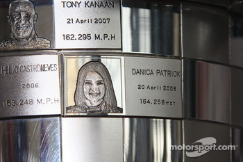 Honda Collection Hall: Danica Patrick on the winning trophy