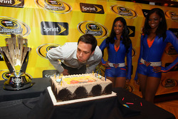 Three-time defending NASCAR Sprint Cup Series champion Jimmie Johnson celebrates his 34th birthday with the New York Knicks City Dancers