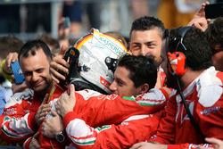 Second place Sebastian Vettel, Ferrari in parc ferme