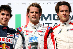 Podium: Second place Robert Wickens, race winner Andy Soucek and third place Milos Pavlovic celebrate on the podium