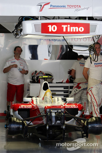 The car of Timo Glock, Toyota F1 Team, who will not race after hurting his leg in a qualifying crash