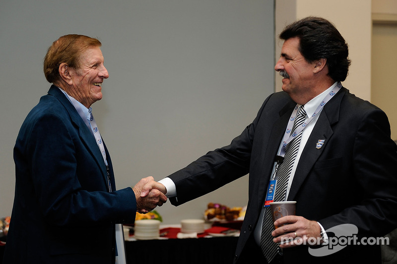 Two-time championship car owner and Hall of Fame nominee Bud Moore greets NASCAR President Mike Helton