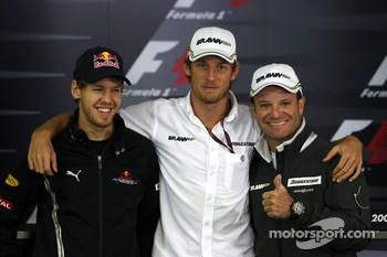 FIA press conference: Sebastian Vettel, Red Bull Racing, Jenson Button, BrawnGP, Rubens Barrichello, BrawnGP