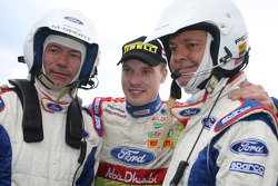 Jari-Matti Latvala with football legend Alan Shearer and former BBC Top Gear presenter Quentin Willson