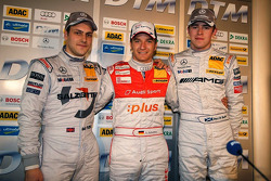 Post-race press conference: 2009 DTM champion Timo Scheider, Audi Sport Team Abt Audi, with Gary Paffett, Team HWA AG, and Paul di Resta, Team HWA AMG