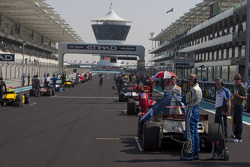 GP2 cars on the grid before the start of the race