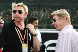 Boris Becker with Mika Hakkinen