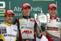 Christian Vietoris celebrates his victory on the podium with Davide Valsecchi and Josef Kral