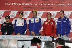 Press conference: Andrea Dovizioso, Repsol Honda Team, Jorge Lorenzo, Fiat Yamaha Team, Valentino Rossi, Fiat Yamaha Team, Casey Stoner, Ducati Marlboro Team and Ben Spies, Yamaha Factory Racing