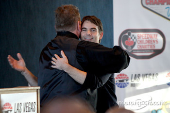 Jeff Gordon on stage at Las Vegas Motor Speedway for the Roast of four time NASCAR Champion Jimmie Johnson