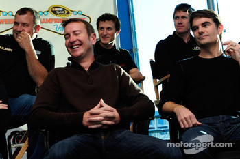 Kurt Busch and Jeff Gordon laugh at Las Vegas Motor Speedway for the Roast of four time NASCAR Champion Jimmie Johnson