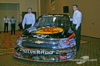 Richard Childress and grandson Austin Dillon unveil the Chevrolet truck's livery for 2010