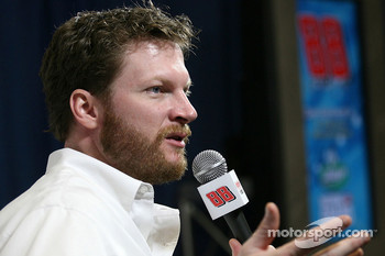 Dale Earnhardt Jr. talks to the media