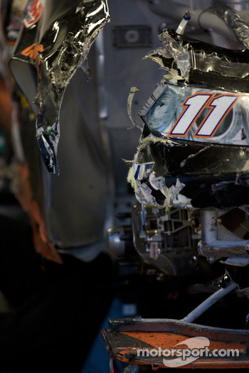 Wrecked car of Denny Hamlin, Joe Gibbs Racing Toyota