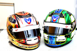 Timo Glock, Virgin Racing and Lucas di Grassi, Virgin Racing helmets