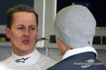 Michael Schumacher, Mercedes GP talks with Nico Rosberg, Mercedes GP
