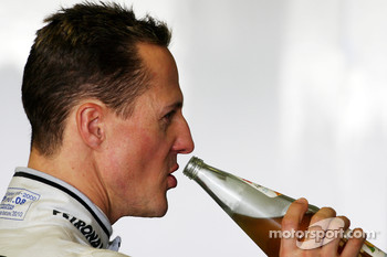 Michael Schumacher, Mercedes GP has a drink