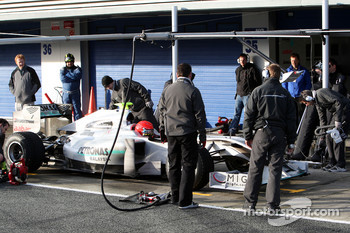 Michael Schumacher, Mercedes GP Petronas, practice pitstops