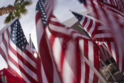 American flags wave in the wind