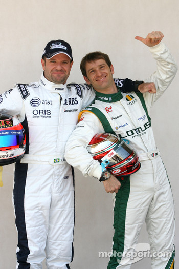Rubens Barrichello, Williams F1 Team and Jarno Trulli, Lotus F1 Team