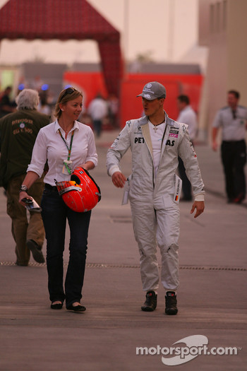 Sabine Kehm, Michael Schumacher's press officer with Michael Schumacher, Mercedes GP