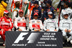 Fernando Alonso, Scuderia Ferrari with Jenson Button, McLaren Mercedes, Lewis Hamilton, McLaren Mercedes, Michael Schumacher, Mercedes GP and Nico Rosberg, Mercedes GP
