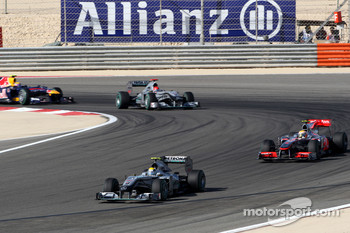 Nico Rosberg, Mercedes GP leads Lewis Hamilton, McLaren Mercedes
