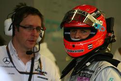 Andrew Shovlin, Mercedes GP, Senior Race Engineer to Michael Schumacher and Michael Schumacher, Mercedes GP