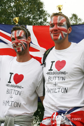 Fans of Lewis Hamilton, McLaren Mercedes and Jenson Button, McLaren Mercedes
