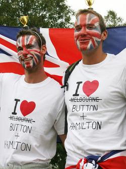 Fans of Lewis Hamilton, McLaren Mercedes and Jenson Button, McLaren Mercedes