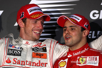 Podium: race winner Jenson Button, McLaren Mercedes, third place Felipe Massa, Scuderia Ferrari