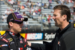 Denny Hamlin, Joe Gibbs Racing Toyota talks with team owner J.D. Gibbs