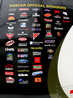 NASCAR sponsors are listed on the side of the Sprint Cup Trailor